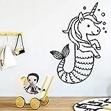 wZUN Unicornio de Dibujos Animados Pegatina de Pared Vinilo calcomanía Cola de Sirena decoración de habitación extraíble decoración del hogar 33X46cm
