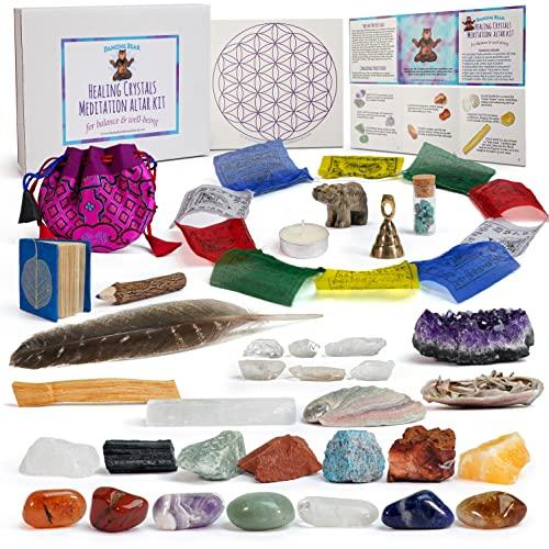 Dancing Bear Healing Crystals Meditation Altar Kit (35 Pc...