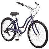 Schwinn Mikko Adult Beach Cruiser Bike, Featuring 17-Inch/Medium Steel Step-Over Frames, 7-Speed Drivetrains, Navy