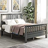 Full Bed Frame, Platform Wood Bed Frame with Headboard, No Box Spring Needed (Grey, Full)