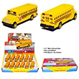 12 pcs in Box: 2½' Die Cast Mini Long Nose School Bus, Pull Back Action (Yellow)