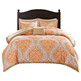 Comfort Spaces Coco 3 Piece Comforter Set Ultra Soft Printed Damask Pattern Hypoallergenic Bedding, Twin/Twin XL(66'x90'), Orange-Taupe