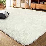 LOCHAS Ultra Soft Indoor Modern Area Rugs Fluffy Living Room Carpets Suitable for Children Bedroom Home Decor Nursery Rug, 6x9 Feet Cream White