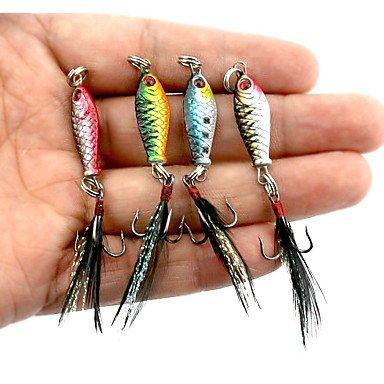Lure Kits TY 4Pezzi di Metallo Esche Esche da Pesca Esche Metallo Esche Colori Assortiti g/oncia,25mm/2,5cm Pollici, Piombo Metalsea Esca per la Pesca Casting Spinning