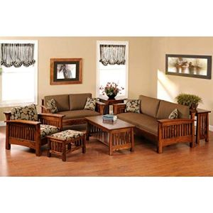 MAHIMART AND HANDICRAFTS Sheesham Wood Sofa Set for Living Room   Wooden Sofa Set  Sofa with Center Table Set (3+2+1 with Center Table, Teak Finish)