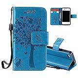 Aeeque Portable Bleu Etui PU Cuir Coque iPhone 5C, Élégant [Chat et Arbre]...