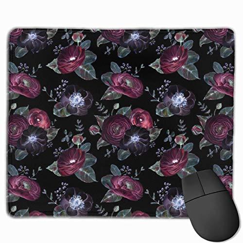 HENTIN Tappetino per mouse tappetino in gomma antiscivolo rosso rosa notte fantasia per desktop, computer, PC e laptop