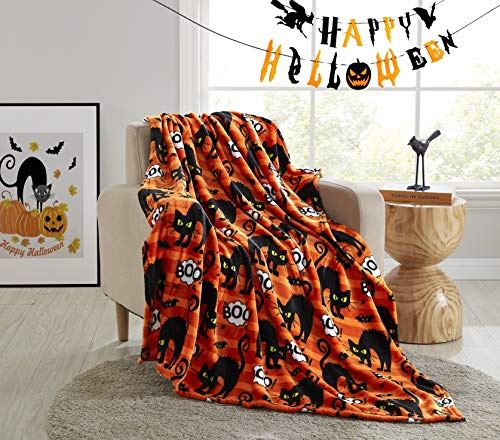 Morgan Home Fashions Velvet Plush Throw Blanket- Soft, Warm and Cozy, Lightweight for All Year Round Use 50 x 70 Inches Soft Velvet Plush in 5 Styles (Boo Kitty)