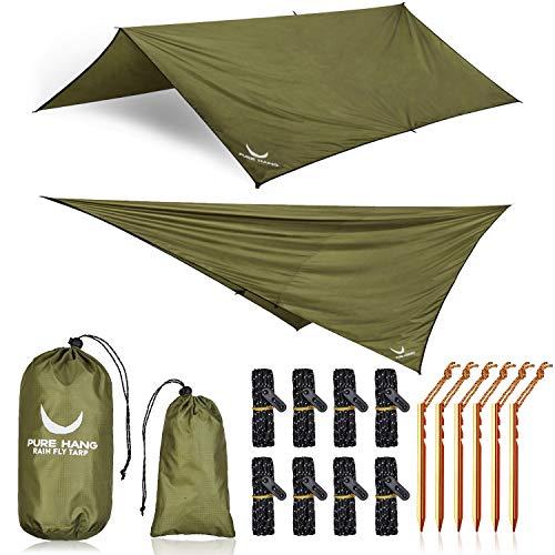 PURE HANG Premium Tarp 3x3 für Hängematte Outdoor Zeltplane Wasserdicht mit Ösen Sonnensegel Strand Ultra-Leicht Sonnenschutz UV Schutz Regenschutz Camping Backpacking