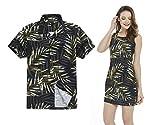 Couple Matching Hawaiian Luau Outfit Aloha Shirt Tank Dress in Pastel Leaves in Black Men L Women M