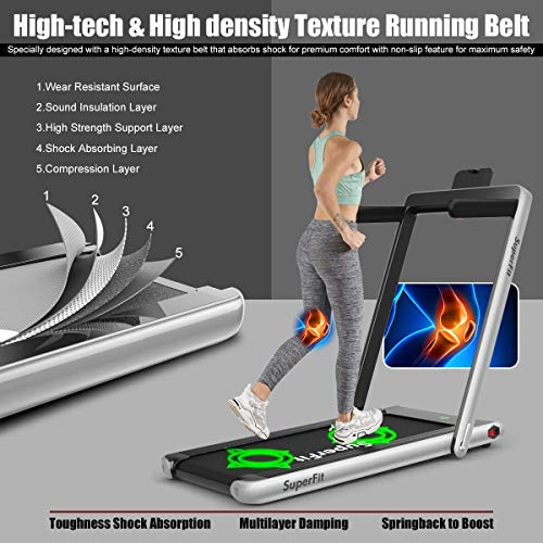 Goplus 2 in 1 Folding Treadmill, 2.25HP Under Desk Electric Treadmill, Installation-Free, with Bluetooth Speaker, Remote Control and LED Display, Walking Jogging Machine for Home/Office Use (Silver) 2