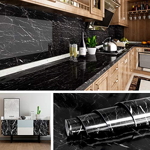 Livelynine 15.8x394 Inch Black Marble Wall Paper Peel and Stick Countertops Kitchen Wallpaper Self Adhesive...