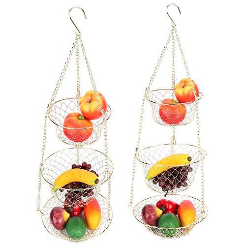Haokaini 3-Stufiger Obst-Aufhängekorb mit Kette Und Haken Küchen-Obst-Gemüse-Aufbewahrungskörbe Veranstalter-Korb für Wand- Oder Deckenhaken 80 cm