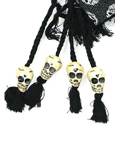 LOVARZI Skull Beaded Shemagh Cotton Arab Keffiyeh Palestinian Desert Scarf Head Neck Face Wrap – Hiking Scarfs for Men and Women – Halloween Gift Scarves