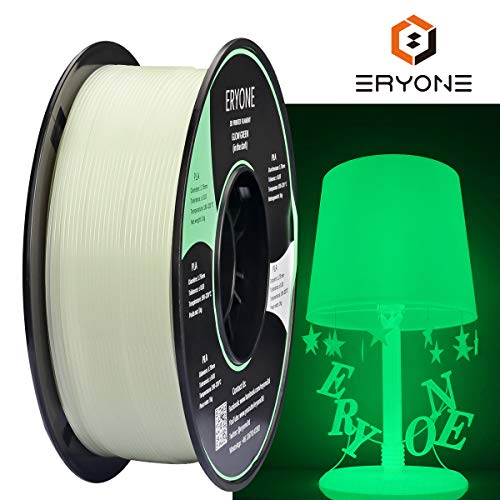 Filamento PLA 1.75 mm Bianco, PLA Luminoso, Glows Verde In The Dark, ERYONE Stampante 3D Filamento 1 kg Spool