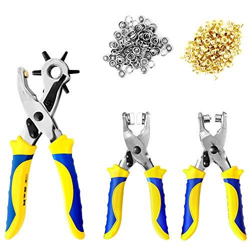 S&R Fustellatrice/Occhiellatrice/Perforatrice per Cuoio, Teloni, Pelle, Cinture, Jeans. Set con 3...