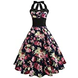 2020 New Women's Vintage Dress 1950s Halter Butterfly Printed Casual Sleeveless Swing Cocktail Prom Dress