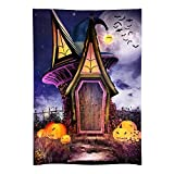 Funnytree 5x7ft Durable Halloween Party Backdrop No Wrinkles Haunted House Pumpkins Moon Night Photography Background Baby Adult Portrait Banner Decorations Photo Booth Studio
