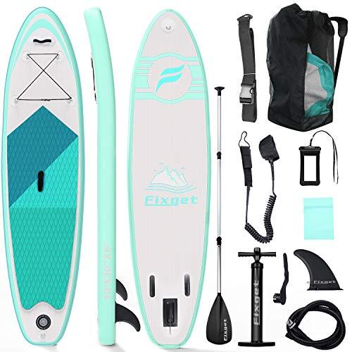 Fixget Tavola SUP Gonfiabile, Tavola Surf Paddle Board 300x76x15cm, Carico di 150 kg con Pompa ad Aria, Pagaia Regolabile, Linea di Sicurezza… (Tipo A Verde)