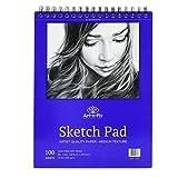 Bloc de dessin 100 feuilles à reliure spirale 22,9 x 30,5 cm - Papier blanc à grain moyen pour le dessin, croquis, esquisse, essais et illustrations