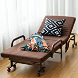 Giantex Folding Guest Bed Frame with Mattress, Foldaway 3.5 inch Twin Mattress, Portable Single Sleeper Bed w/Wheels for Camping Office Nap, Adjustable Guest Bed w/ Storage Bag (Brown)