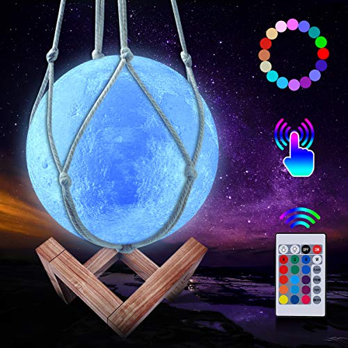 CoMokin 15cm Neu 3D Mond Lampe 16 Farben LED Wiederaufladbares Nachtlicht, Dimmbare Galaxis Lampe...