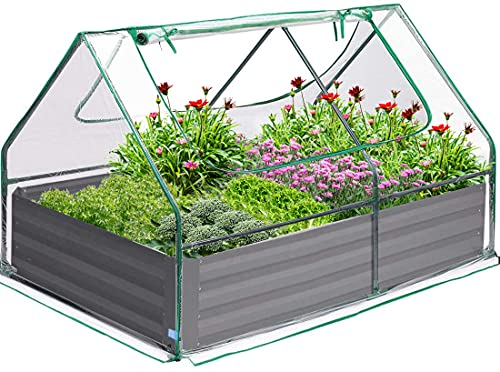 Quictent 4×3×1 Ft Extra-Thick Galvanized Steel Raised Garden Bed...