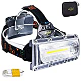 Headlamp, LETOUR High Lumen Rechargeable Headlamp, COB High Bright LED Headlights Waterproof Work Light Headlight for Hard Hat Camping Cycling Hunting Fishing Climbing Running Outdoor, Super Long Time