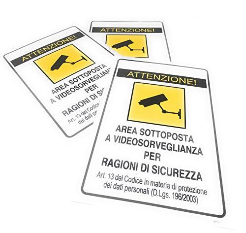 TEMPO DI SALDI 3 x Cartello Adesivo Area Sottoposta A Videosorveglianza X Esterno 30x20