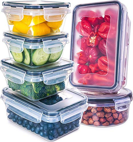 Fullstar Airtight Food Storage Containers with Lids - Plastic Food Containers with Lids - Plastic Containers with Lids - Lunch Containers [ 6 Pack] Kitchen Storage Containers with Lids BPA-Free