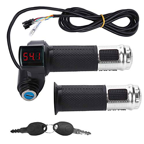 1Pair E-Bike Throttle Grip,Universal Electric Bicycle Scooter Wire Twist Throttle Grip with LCD Battery Voltage Display Key Knock