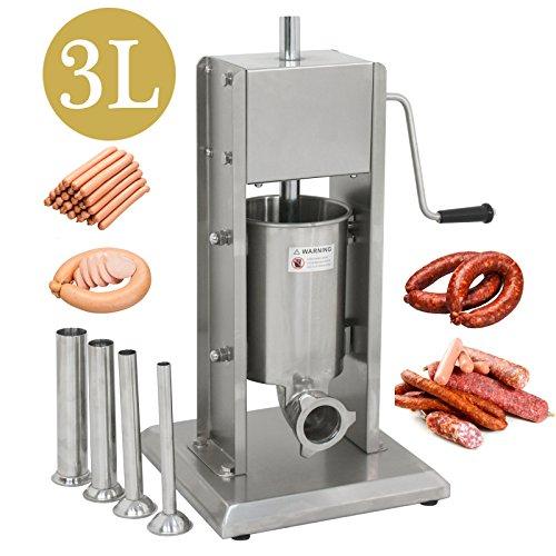 Product Image 2: Super Deal 3L Sausage Filler Sausage Stuffer 7LB Dual Speed Meat Maker, Vertical Stainless Steel Meat Sausage Stuffer w/ 4 Filling Funnels (Sausage Filler 3L)