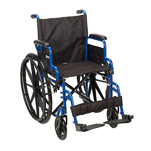 Drive Medical Blue Streak Wheelchair with Flip Back Desk Arms, Swing Away Footrests, 18 Inch Seat