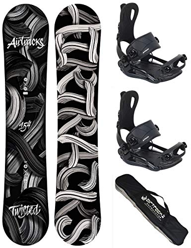 AIRTRACKS Snowboard Set - Planche Twisted Wide 150 - Fixations Master L - SB Bag