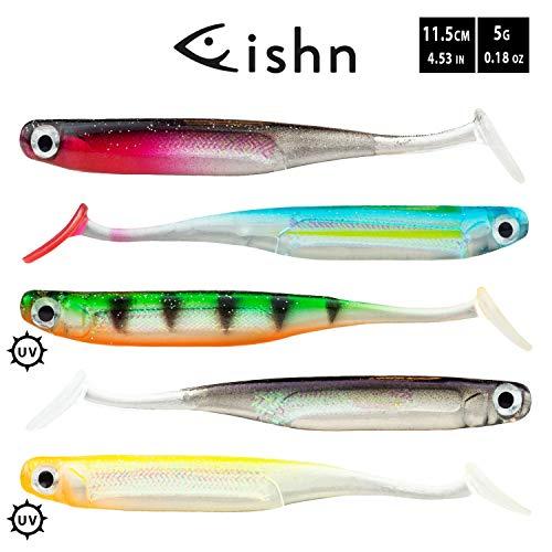 FISHN LURIEone - 5 Pesci di Gomma 11,5 cm, 5 gr per la Pesca di lucioperca, persici, Lucci e trote