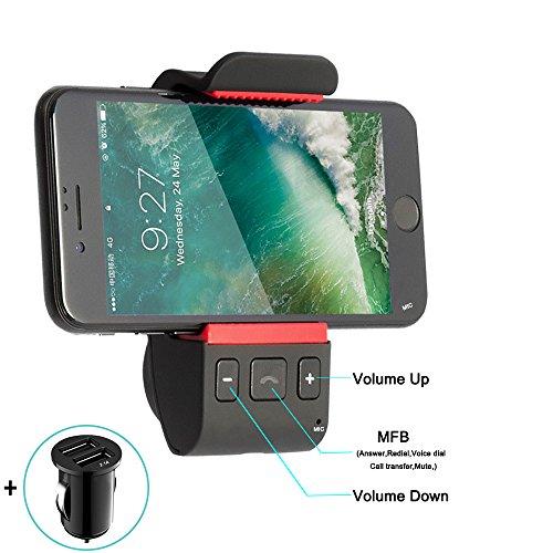 KFZ Freisprecheinrichtung Bluetooth Auto Freisprechanlage,KFZ Handyhalterung mit für iPhone X 8 7 6s Plus,Galaxy S8/S7/S6/S5 Edge+ Note 8 6 5 4 3 und GPS gerät