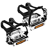 VIEWALL Bike Pedals Toe Cages - 9/16' Spin Bike Pedal with Straps and Toe Clips for Outdoor Cycling and Indoor Exercise Bike, Replacement Alloy Multi-Purpose Bicycle Pedals (Silver, 1-Pair)