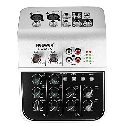 Neewer NW02-1A Mixer Console 2 Canali Economico per Microfono a Condensatore, Compatto Mixer di Audio con Alimentatore 48V Phantom 2 Bande