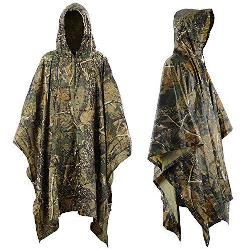 Infreecs Regen Poncho, Wasserdichter Regenponcho für die Jagd Camping, Rad-Regenponcho, Camouflage Rain Poncho, Wandern Regencape