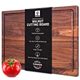 Walnut Cutting Board by Mevell, Handmade in Canada, Large Wood Cutting Board for Kitchen, Reversible with Juice Groove,17x11