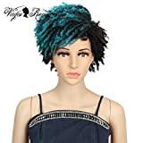 QVR Short Wigs for Black Women Ombre Pixie Cuts Hair Wigs Synthetic Dreadlock Wigs for Women Heat Resistant Fiber Hair Wig Color DYTD1B/DG1#
