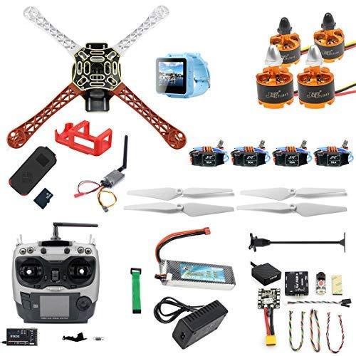 FEICHAO Kit fai-da-te RC Drone F450-V2 FPV Quadcopter con telecomando AT9S MINI PIX MINI GPS Q6 4K Telecamera di azione grandangolare FPV Watch / FPV Occhiali Set completo di droni (FPV Watch version)