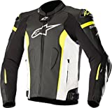 Alpinestars Men's Missile Leather Motorcycle Jacket Tech-Air Compatible, Black/White/Yellow, 54
