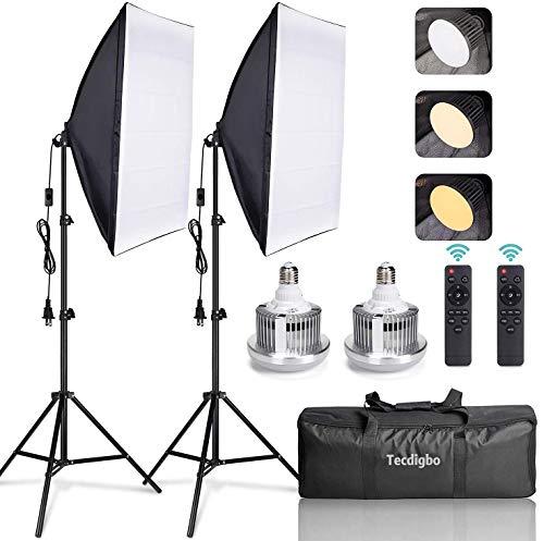 Softbox 95W LED Fotografico 50x70cm Luci Regolabile 3000~6500K Lampade Fotografia con Telecomandi per Foto di Ritratto Prodotto Moda