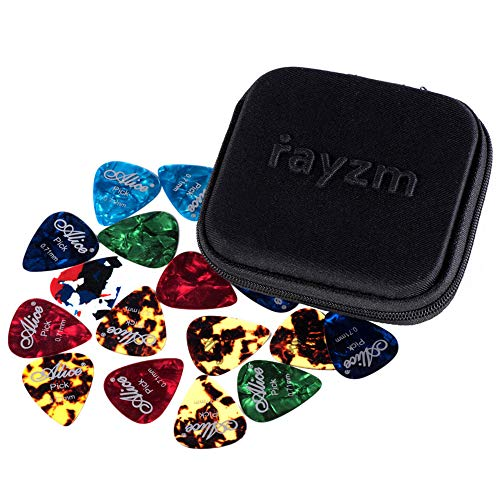 Rayzm ギターピック、カラフル、多種多色、セルロイド製エレキギター/アコースティックギター/ベース用ピック40枚セット、6種厚さ 0.46/0.71/0.81/0.96/1.20/1.50 mm、多色ピックをランダムに出荷、収納ケース付き