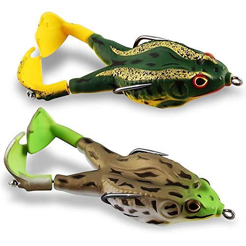 XYDZ Doppie Eliche Rane Esca Esca Morbida Silicone Morbido Esche da Pesca Artificiali Prop Frog Esche 3.56 Pollici per Tutti I Tipi di Pesce Acqua Dolce Acqua Salata