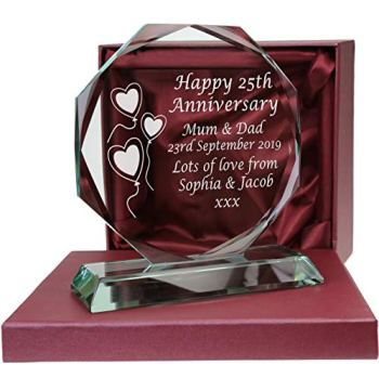 De Walden 25th Silver Wedding anniversary Engraved Presentation Cut Glass 25 Years gift