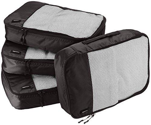 Amazon Basics Lot de 4sacoches de rangement pour bagage TailleM, Noir
