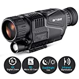 BNISE Digital Night Vision Monocular Infrared Camera - 8X40 HD Night Vision Goggles with 8G TF Card for Adults Night Hunting and Wildlife