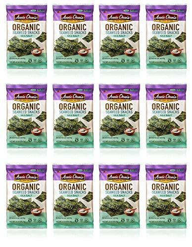 Annie Chun's Organic Seaweed, Sea Salt, 0.16-oz (12 Count), Keto, Vegan, & Gluten-Free Snack, America's #1 Selling Seaweed Snacks